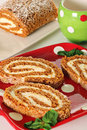 Holiday pumpkin roll vertical Stock Photos