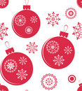 Holiday red christmas seamless texture with balls Stock Photo