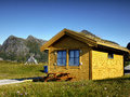 Holiday resort wooden cottage lofoten flakstad typical in campsite on Royalty Free Stock Photography
