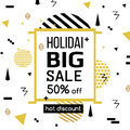 Holiday Sale modern banner in the Memphis style. Template Sale. Special offer. Big sale. Up to 50 interest discount. Hot