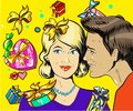 Holiday sales, a couple man and woman with wisper, pop art retro vector illustration Royalty Free Stock Photo