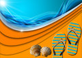 Holiday sea abstract background blue and orange with stylized waves and sunlight flip flop sandals and seashells concept of summer Stock Photos