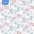 Holiday seamless pattern with bells, Christmas balls and stars in red, blue and silver colors on white background
