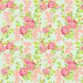 Holiday Seamless pattern with cute angels and pink roses flowers Royalty Free Stock Photo
