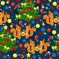 Holiday seamless pattern with funny animals.