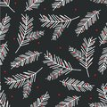 Holiday seamless pattern with spruce branch. Christmas tree illustration.