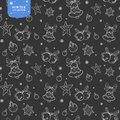 Holiday seamless vector pattern with bells, Christmas balls and stars in silver colors on dark background