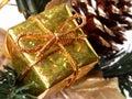 Holiday & Seasonal: Small Gold Gift Box Royalty Free Stock Photo