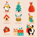 Holiday set with cute characters and decorative Christmas elements. Festive vector illustrations Royalty Free Stock Photo