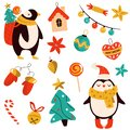 Holiday set with cute penguins and decorative Christmas elements. Festive vector illustrations Royalty Free Stock Photo