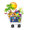 Holiday shopping over white background vector illustration Stock Photos