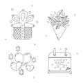 Holiday stylish valentine s day linear icons with gift rose bunch hearts with stars and a calendar Royalty Free Stock Image