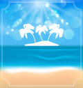 Holiday summer card with beautiful beach and palms illustration vector Royalty Free Stock Photo
