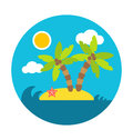 Holiday summer island, flat vector circle style