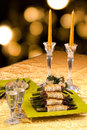 Holiday table with appetizers nice festive Royalty Free Stock Image