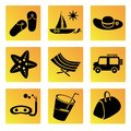 Holiday and travel icons set of summer Stock Photography