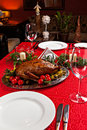 Holiday turkey christmas roast duck served on a festive table Stock Images