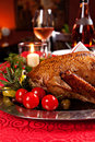 Holiday turkey christmas roast duck served on a festive table Royalty Free Stock Image