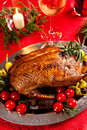 Holiday turkey christmas roast duck served on a festive table Royalty Free Stock Photos