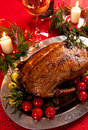 Holiday turkey christmas roast duck served on a festive table Royalty Free Stock Images