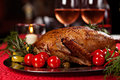 Holiday turkey christmas roast duck served on a festive table Stock Photos