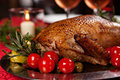 Holiday turkey christmas roast duck served on a festive table Stock Image