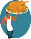 Holiday turkey smiling muscular man holding a huge roasted on a platter with vegetables cartoon Stock Photos