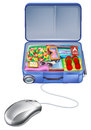 Holiday vacation suitcase mouse concept shopping online for the perfect package Royalty Free Stock Images