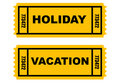 Holiday Vacation tickets Stock Images