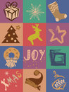 Holiday vector collage christmas and new year Royalty Free Stock Photo