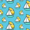Holiday voyage pattern. Summer water trip wallpaper. Vacation sail boat print. Small ship marine texture. Cruise decoration