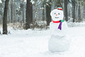 Holiday winter three snowball snowman with hat and scarf Royalty Free Stock Photo