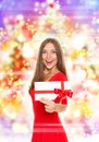 Holiday woman happy smile over abstract colorful background Royalty Free Stock Photos