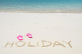 Holiday writing on the beach sandy Royalty Free Stock Images