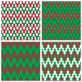 Holiday zigzag patterns abstract rounded in red white and green repeats seamlessly Stock Images