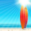 Holidays background with surfboard easy all editable Stock Photography