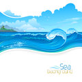 Holidays on beach resort sun sand and blue waves Stock Photography