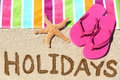Title: Holidays beach travel text