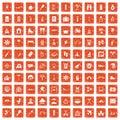 100 holidays family icons set grunge orange Royalty Free Stock Photo