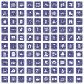 100 holidays family icons set grunge sapphire Royalty Free Stock Photo