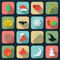 Holidays flat vector icons Stock Images