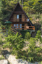 Holidays house in the forest near lake rożnów in poland Royalty Free Stock Images