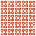 100 holidays icons hexagon orange