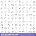 100 holidays icons set, outline style