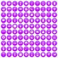 100 holidays icons set purple