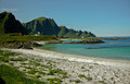Holidays in norway beautiful beach northern Royalty Free Stock Images