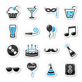 Holidays and party icons set as labels Royalty Free Stock Photography
