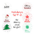 Holidays Set of free typography lettering,