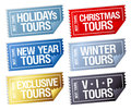 Holidays tours stickers in form of tickets. Royalty Free Stock Photography