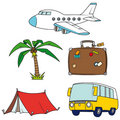 Holidays and travel clip-art set Royalty Free Stock Image